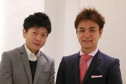 インタビュアーの森(左)。「今後の事業展開を楽しみにしています!」
